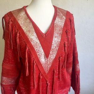 Pioneer Wear Red Suede & Acrylic Knit Sweater M